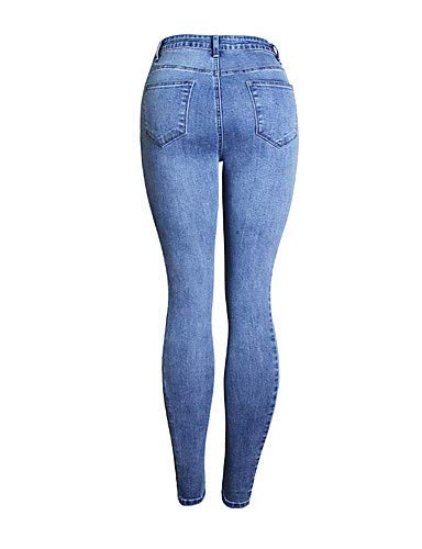 White Blue YFLTZ Pantalons Jeans Active amp; Femmes Color Gland Solid Blue ZqZfv8x4w