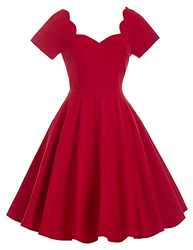 Belle-Poque-Womens-Red-Scalloped-Sweetheart-Neckline-Vintage-Retro-Swing-Dress