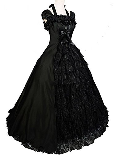 Wraith of East Black Wedding Dress Gown Gothic Lolita Victorian Satin Halloween L by Wraith of East