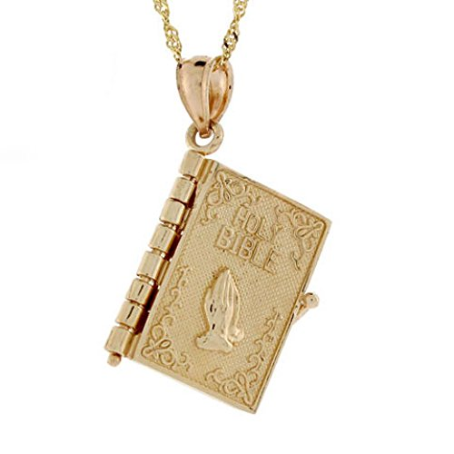 Opening Bible Charm (14k 3.3gr Gold Bible 4 Page Religious Opening Charm)