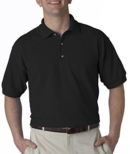 Gildan mens Ultra Cotton 6.5 oz. Pique Polo(G380)-BLACK-M