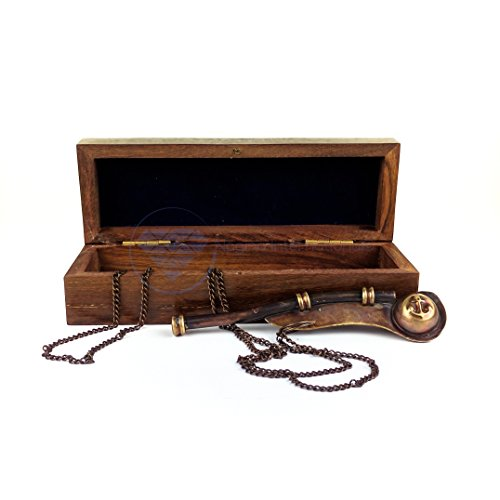 Boatswain's Brass Crafted Bosun's Pipe Whistle With Chain & Handcrafted Rosewood Anchor Inlayed Case | Pirate's Decor Collection | Maritime Decor | Nagina International