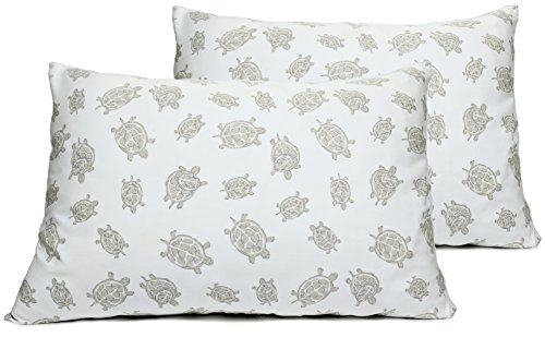 2 Toddler or Travel Pillowcases in Organic Cotton to Fit 13 x 18 and 14 x 19 Pillow, Turtle Print -