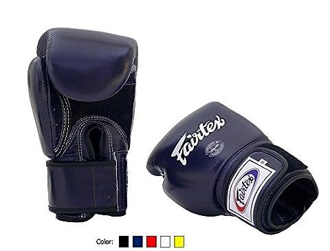 Fairtex Muay Thai Boxing Gloves BGV1 BR Breathable Blue 14 oz Training & Sparring Gloves for Kick Boxing MMA (Fairtex Muay Thai Ankle Supports)