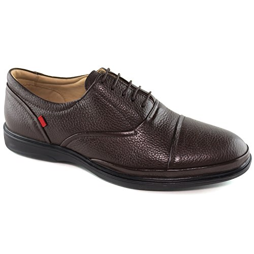 Mens Genuine Leather Made In Brazil Broad Street Classic Oxford Brown Grainy Lace Up Marc Joseph NY Fashion Shoes - Oxford Street Stores