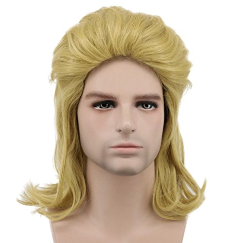 Karlery Mens Long Curly Gold 70s 80s Mullet Rocker Wig Halloween Costume Wig Anime Cosplay Wig -