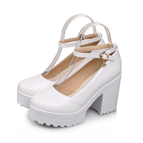 Lucksender Womens Round Toe Platform Chunky Heels Ankle Strap Mary Janes Pumps Shoes White jBeBgKJih