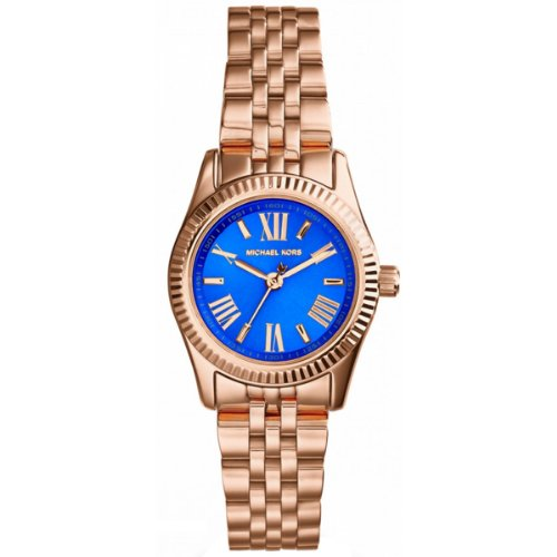 Michael Kors Petite Lexington Blue Dial Rose Gold-tone Ladies Watch MK3272
