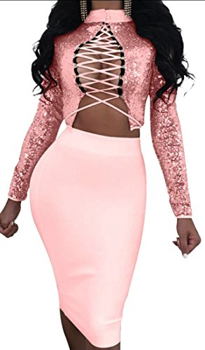 Wear Women's Top Bodycon Piece Up Sequins Clubwear Bandage Skirt Set Outfit M Turtleneck amp;S Pink Multi Lace 2 amp;W IqExgHw7
