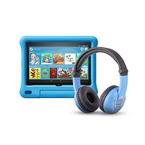 All-new Fire HD 8 Kids Edition tablet | 8″ HD display, 32 GB, Blue Kid-Proof Case + Made for Amazon Bluetooth BuddyPhones, PlayTime in Blue – Ages (3-7)