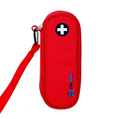 Epipen Case - PracMedic Bags EpiPen Case Insulated, Compact - Holds 2 EpiPens or Auvi-Q and Asthma Inhaler - Immediate Access to Allergy Medications During Emergency Situations for Kids and Adults (Red)