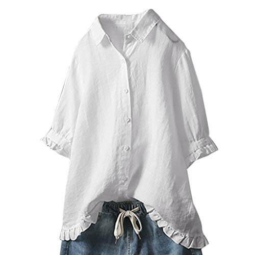 OrchidAmor Women Lace Button Turn Down Collar Middle Sleeve Solid Color T-Shirt Top Blouse White (Flannel Shirt Abercrombie Women)