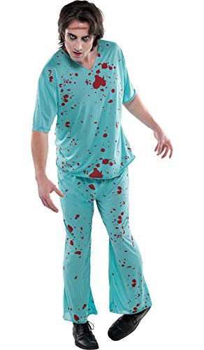 Scary Doctor Costume (AMSCAN Bloody Scrubs Halloween Costume for Adults,)