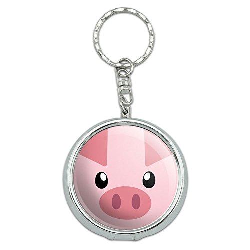 Portable Travel Size Pocket Purse Ashtray Keychain with Cigarette Holder Animals - Pig Face Close up Farm Animal