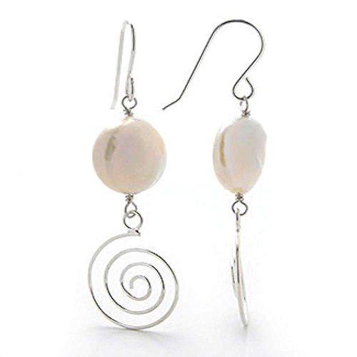 (Spiral Sterling Silver Earrings with 12mm Coin Cultured Freshwater Pearls )