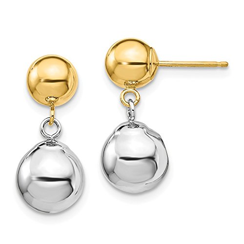 - 14k Yellow and White Gold Two-tone Polished Ball Dangle Post Earrings Length 17mm