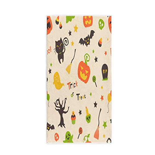 Pinbeam Bath Towel Cute Bright Cartoon Halloween Pumpkins Black Cat Ghost Towel Beach Towel -