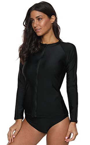 ATTRACO Womens Long Sleeve Rash Guard Shirt Athletic Sufing Tops Black XX-Large by ATTRACO (Image #6)