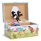 JewelKeeper Girl's Musical Jewelry Storage Box with Spinning Horse, Barn Design, Home on The Range Tune