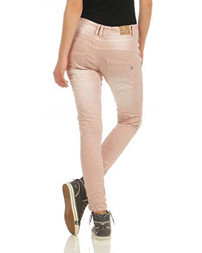 hop Cerniera L8081 Lavato Rosa Con Larghi Chino Elasticizzati Jeans Hip Donna Pantaloni Lexxury Usata Boyfriend 8xPTRZ