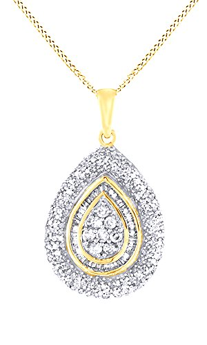 Jewel Zone US White Natural Diamond Teardrop Pendant Necklace in 10k Yellow Gold (1 Cttw)