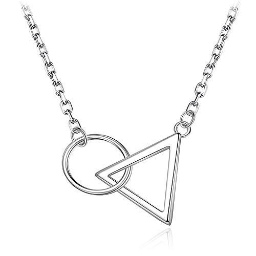 WOFEIYL Lady Pendant Triangle Circular Cross Extremely Short Collarbone Sterling Silver Necklace Geometric Simple Joker Accessories -