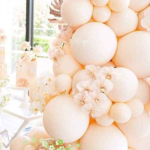 Party Pastel Balloons Arch Garland Kit 105 Ivory White Latex Balloons Decorating kit : 16ft Balloon Strip Tape 100 Balloon Dot Glue and Curling Ribbon for Kids Adult Birthdays Weddings Receptions Brid