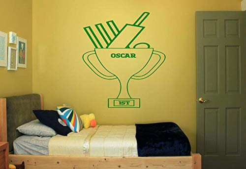 Yilooom Personalised Cricket Trophy New Bedroom Wall Quote Art Vinyl Decal Sticker