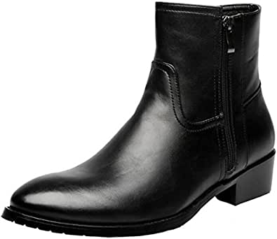 PPXID Men's Plush Inner Leather Pointed-toe Punk High Top Boots-Black 5.5 US size