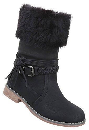 Damen Schuhe Stiefel Boots Schwarz