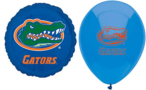 University of Florida Gators Balloons Party Supplies and Decorations: Two Foil Balloons and Ten Latex Balloons for Tailgaiting, Birthday Party, University of Florida - Balloon Gator