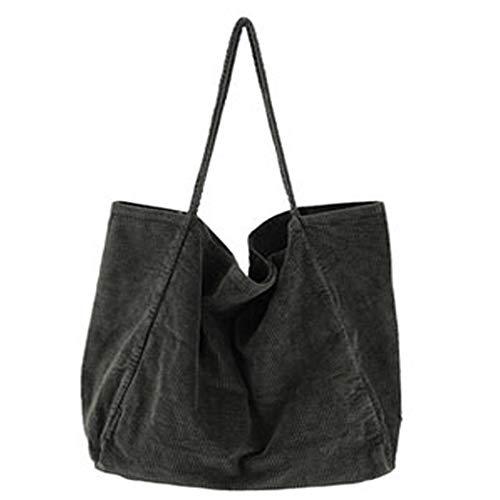 Funtlend Umhängetasche Damen Groß Handtasche Schultertasche Cord Tasche Damen Crossbody Tasche Einkaufstasche Damen Shopper-40*40*23cm (Grün)