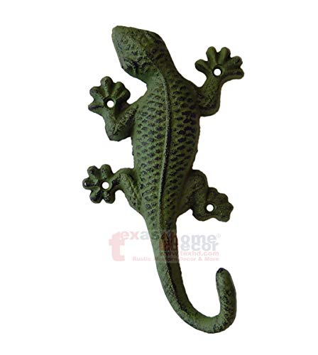 Green Cast Iron Lizard Wall Hook Gecko Key Coat Towel Purse Hanger Bathroom Hook