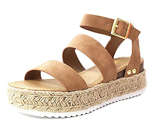 SurBepo Women's Platform Espadrilles Slide Sandals Criss Cross Slide-on Open Toe Faux Leather Summer Flat Sandals (6.5 B(M) US-EU Size 37, 5-Tan) ()
