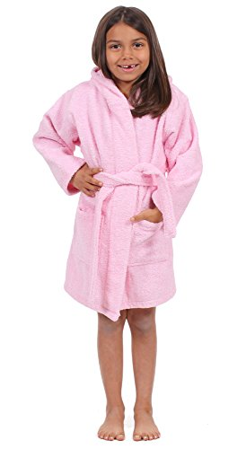 Turkuoise 100% Turkish Cotton Terry Hooded Eco-Friendly Kids Bathrobe-Girls Pink S/M