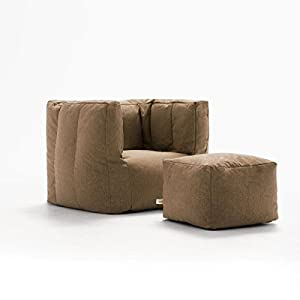 Big Joe Lux Cube & Ottoman in Union, Pecan