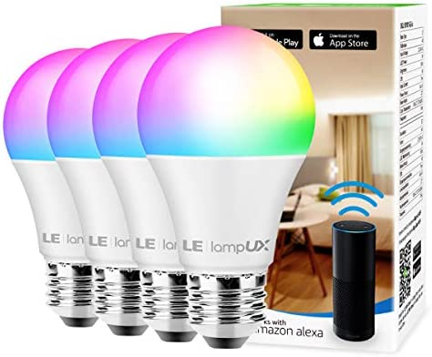 Smart WiFi Light Bulbs, LED Color Changing Lights, Works with Alexa Google Home, RGBW 2700K-6500K, 60 Watt Equivalent, Dimmable with App, A19 E26, No Hub Required, 2.4GHz WiFi 4 Pack