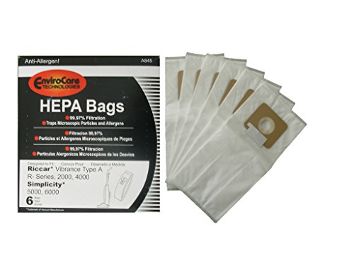 EnviroCare Riccar Type A R-Series Simplicity 5000 6000 Series HEPA Upright Vacuum Bags (1) ()