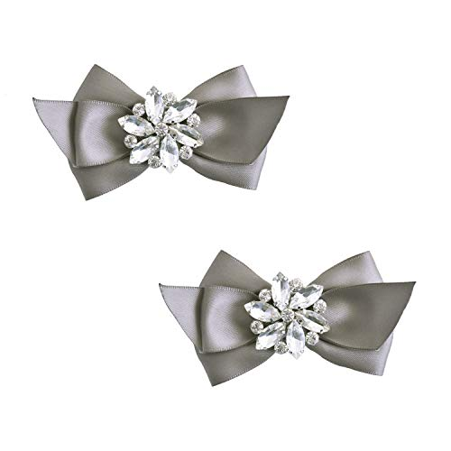 ElegantPark CQ Women Bow Shoe Clips Rhinestones Decorative Jewelry Wedding Party Accessories Decoration Grey 2 Pcs