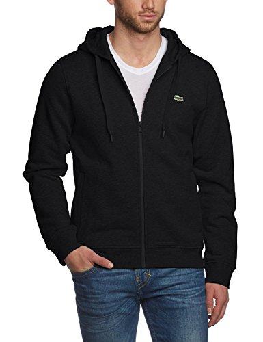 Lacoste Men's Full Zip Hoodie Sweatshirt-Black-Medium