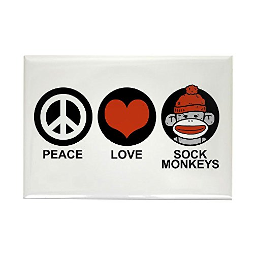 Sock Monkey Magnets - CafePress Peace Love Sock Monkeys Rectangle Magnet Rectangle Magnet, 2