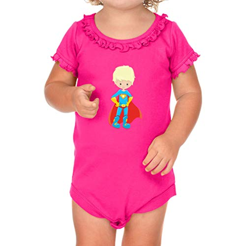 Cute Rascals Superman Blonde Short Sleeve Scoop Neck Girl Sunflower Cotton Baby Ruffle Bodysuit - Hot Pink, 18 Months]()