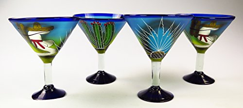 Mexican Glass Margarita Martini Hand Painted Poncho and Cactus, 14 Oz, Set of 4 by Mexican Margarita Glasses