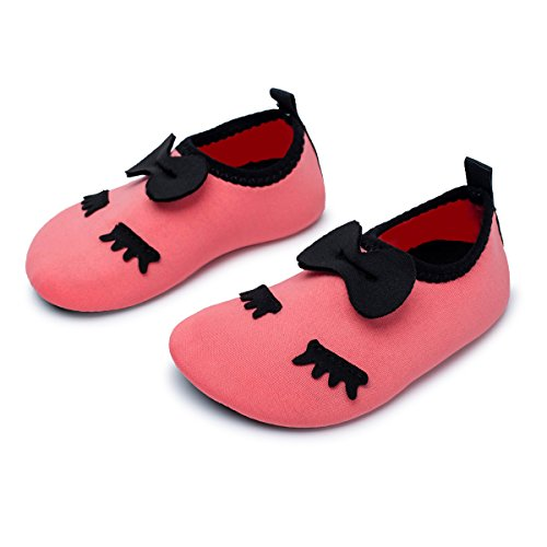 JIASUQI Athletic Sneakers Barefoot Water Shoes for Beach Swim Pool for Infant Girls Cute Pink 6-12 Months