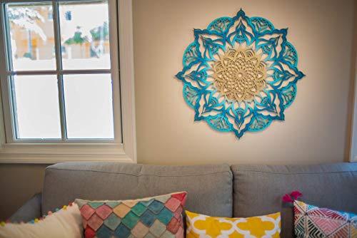 Mandala Wood Home Decor, Turquoise Gold Geometric Indian Wall Art, Boho Ethnic Housewarming Wall Hanging, Morrocan Handmade Spiritual Gift, Sacred Geometry