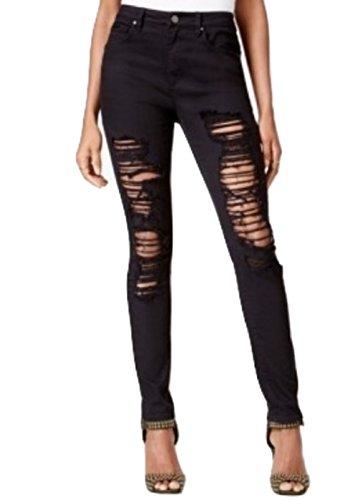 Rachel Roy Womens Icon Ripped Wash Skinny Fashionable Jeans Black 31