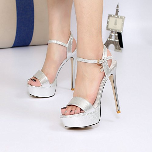 khskx-high Heeled sandalias 13 cm Super alta tacón fino impermeable mesa de grosor inferior Simple Plata hebilla de zapatos de mujer, Thirty-five Thirty-seven