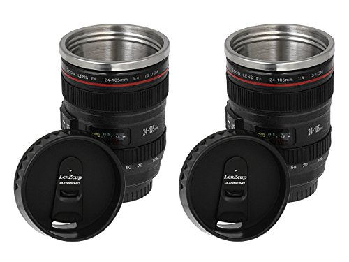 Thermo Lenscup 11 oz Insulated Beverage Tumbler with Easy Clean Lid- Made with Stainless Steel for Durability- Modeling Canon EF 24-105mm Camera Lens, (2 Pack)-unique gift for any photographer