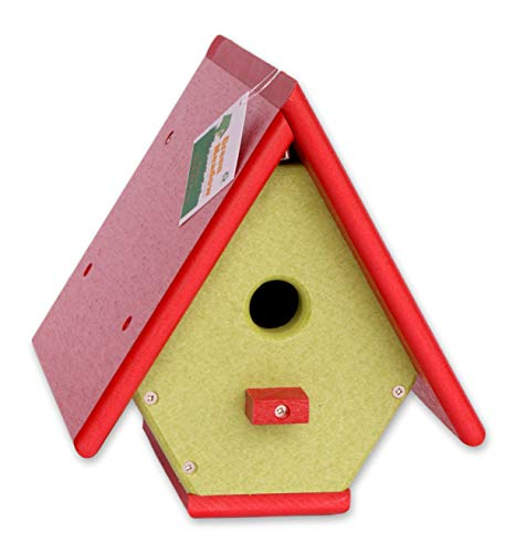 (Amish-Made Hanging Wren House, Eco-Friendly Poly-Wood (Bright Red/Lime))