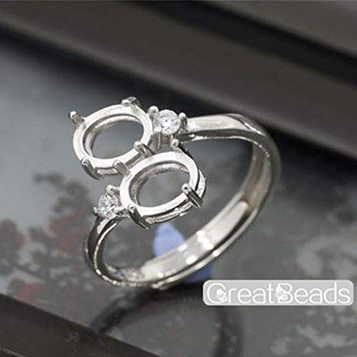 Ring Setting for 6x8mm Oval Cabochons or Faceted Gemstones White Gold Plated 925 Silver Zircon Adjustable Band Ring Base with 2 Blanks JZ206 ()